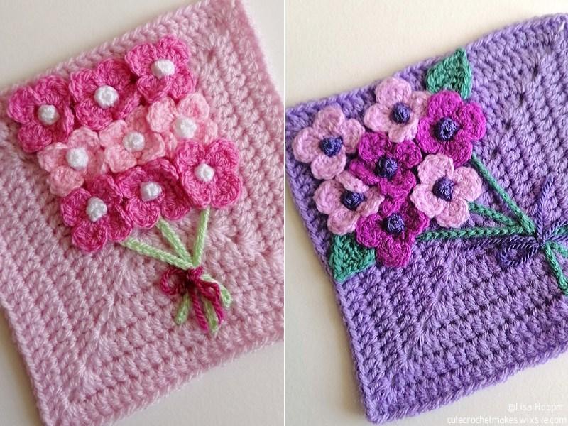 Spring Flower Crochet Blanket Squares