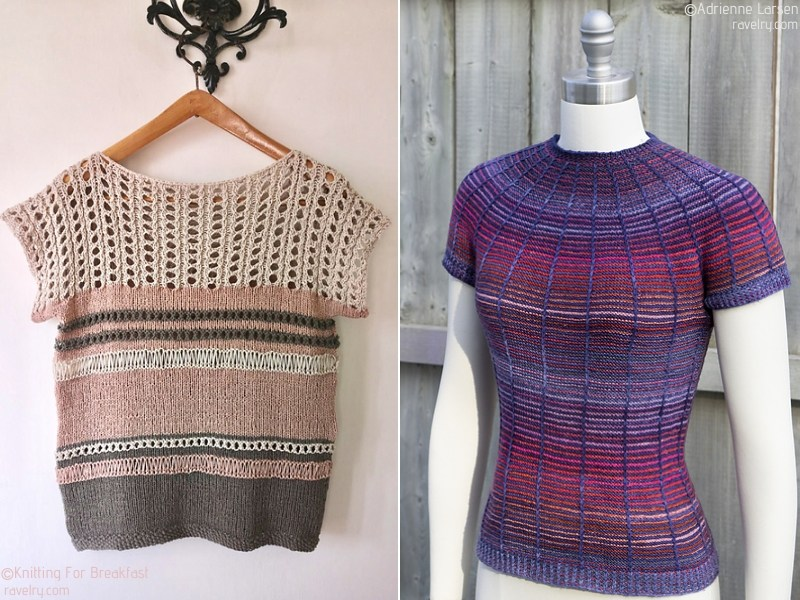 Stripy Knit Women's Tops Free Patterns