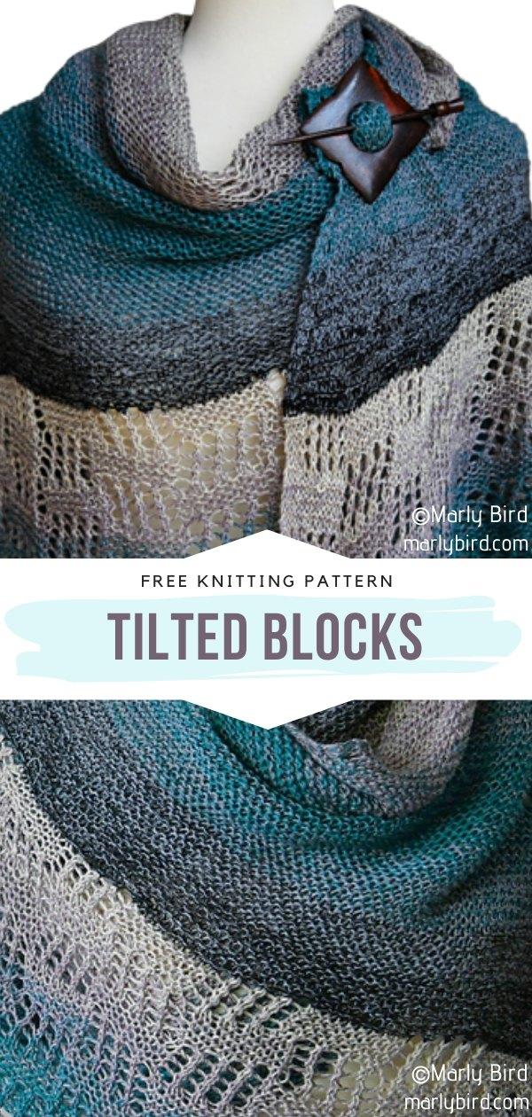 Tilted Blocks Knit Shawl
