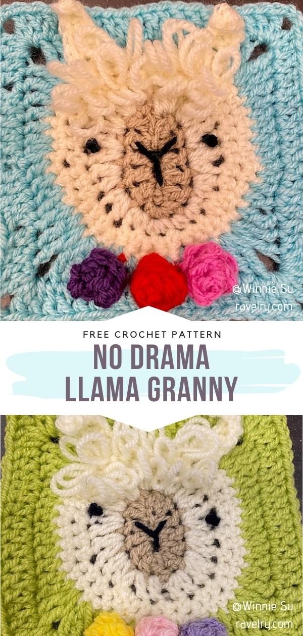 Llama Crochet Square