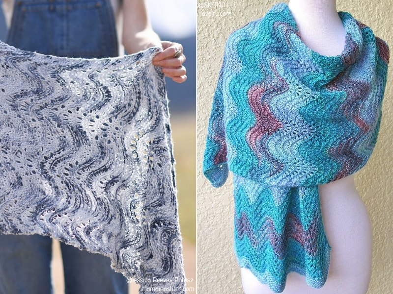 Blue Waves Knit Shawls