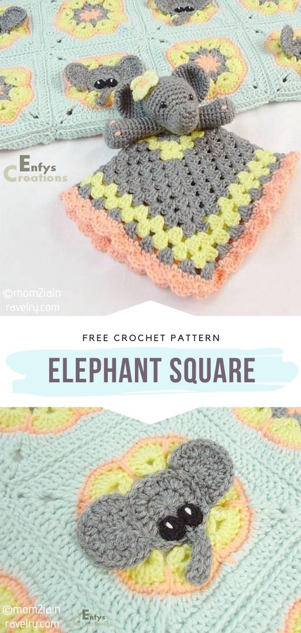Elephant Crochet Square