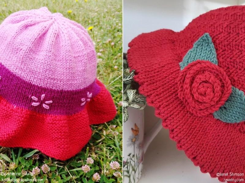 Girly Sun Hats Free Knitting Patterns