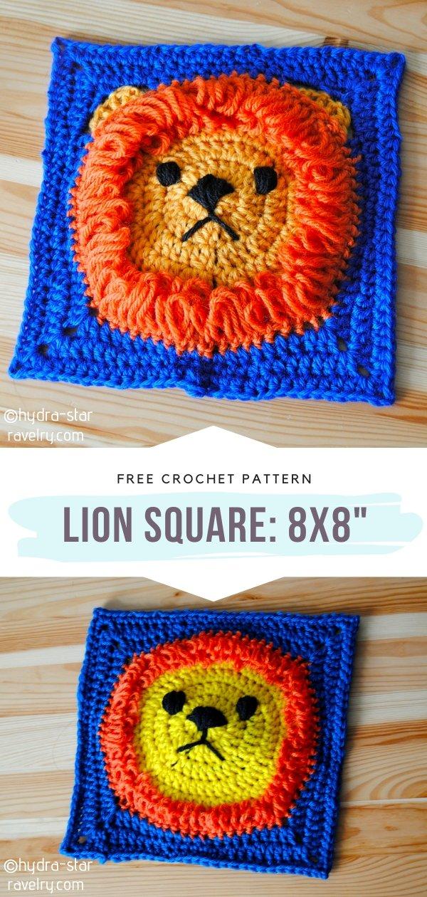 Lion Crochet Square 8x8