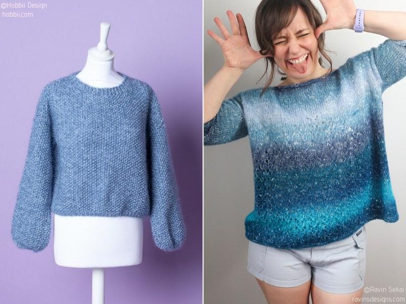 Ocean Blue Light Sweaters Free Knitting Patterns