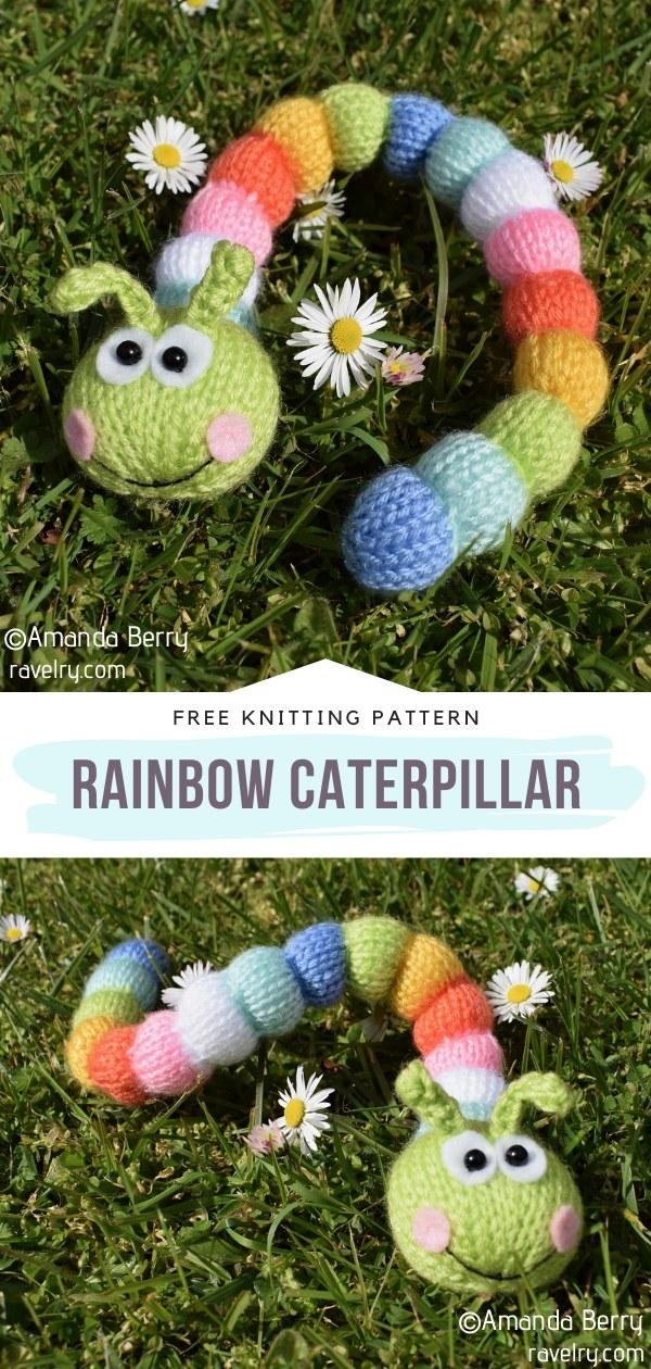 Knit Rainbow Caterpillar