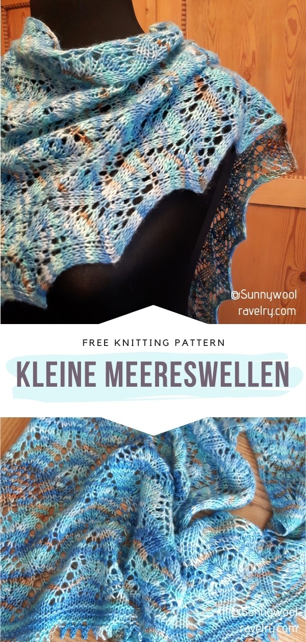 Knitted Blue Shawl