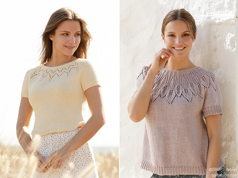 Chic Tops with Lacy Motifs Free Knitting Patterns