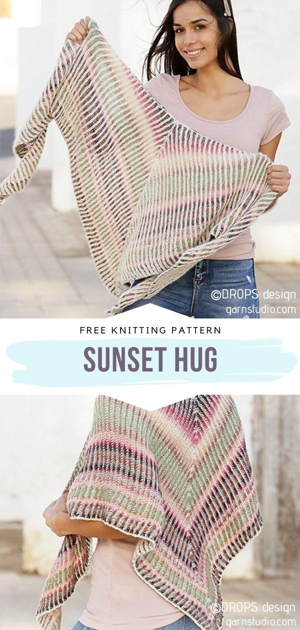 Sunset Hug Knit Shawl