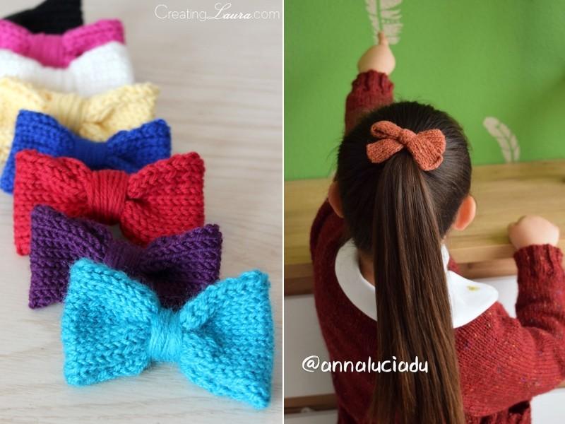 Sweet Hair Bows Free Knitting Patterns