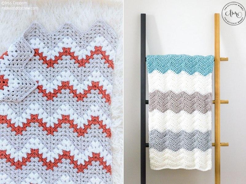 Sweet Ripple Blankets Free Crochet Patterns
