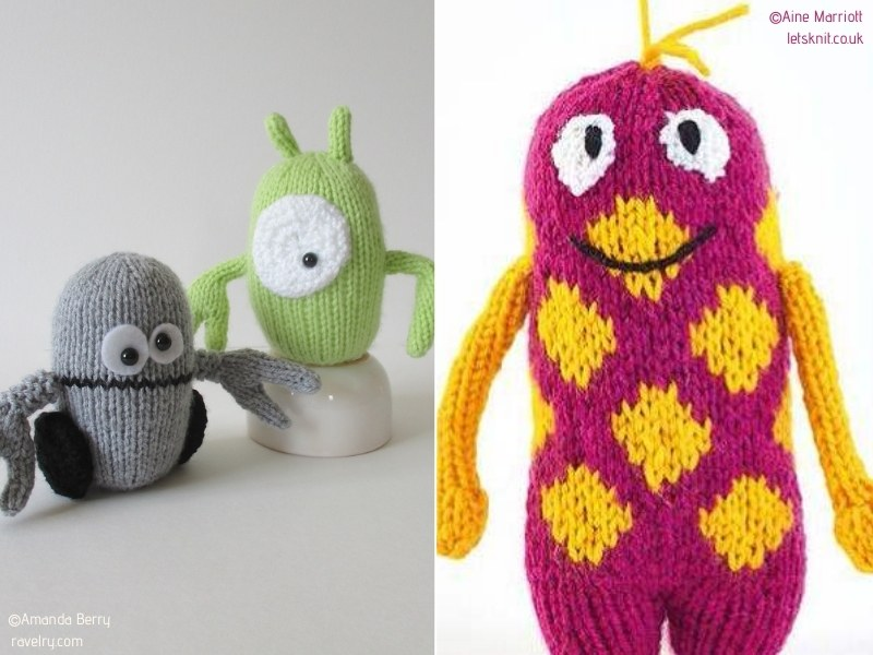 Adorable Knitted Alien Softies with Free Patterns