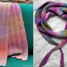 Tunisian Crochet Scarves in Violets with Free Patterns