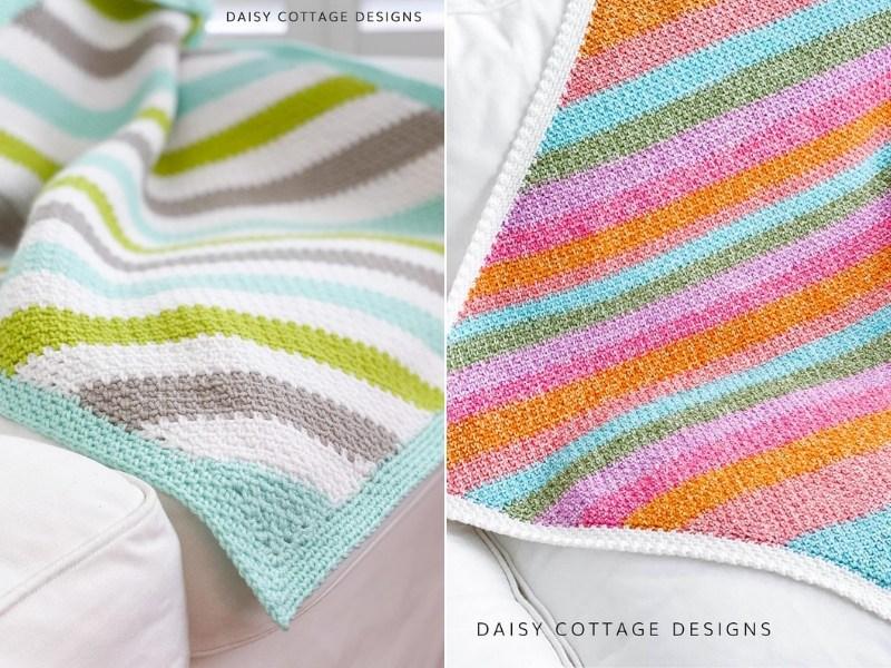 C2C Moss Stitch Baby Blankets Free Crochet Patterns