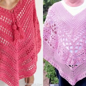 1Fabulous Ponchos in Pink with Free Crochet Patterns