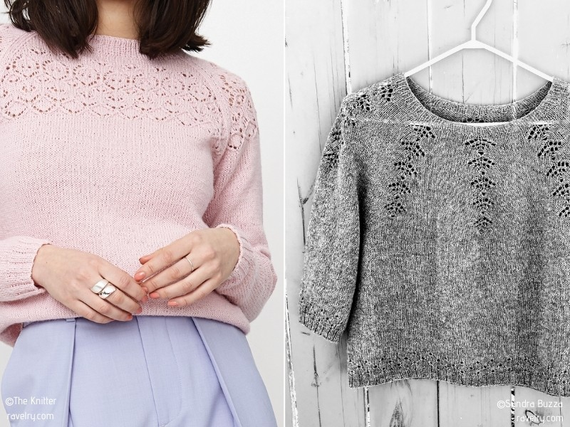 Charming Sweaters with Lacy Motifs with Free Knitting Patterns