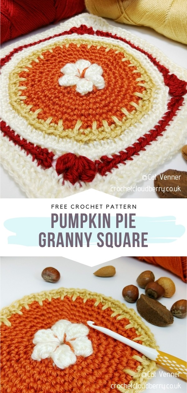 Crochet Pumpkin Granny Square