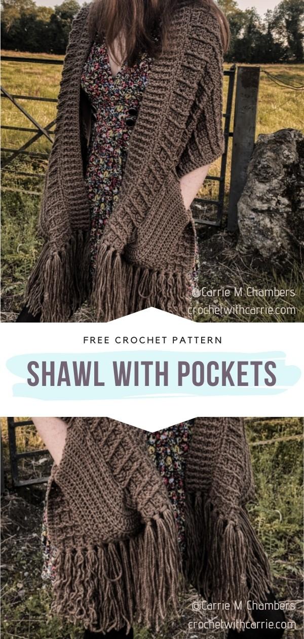 Crochet Shawl With Pockets
