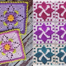 Beautiful Squares with Floral Motifs with Free Crochet Patterns