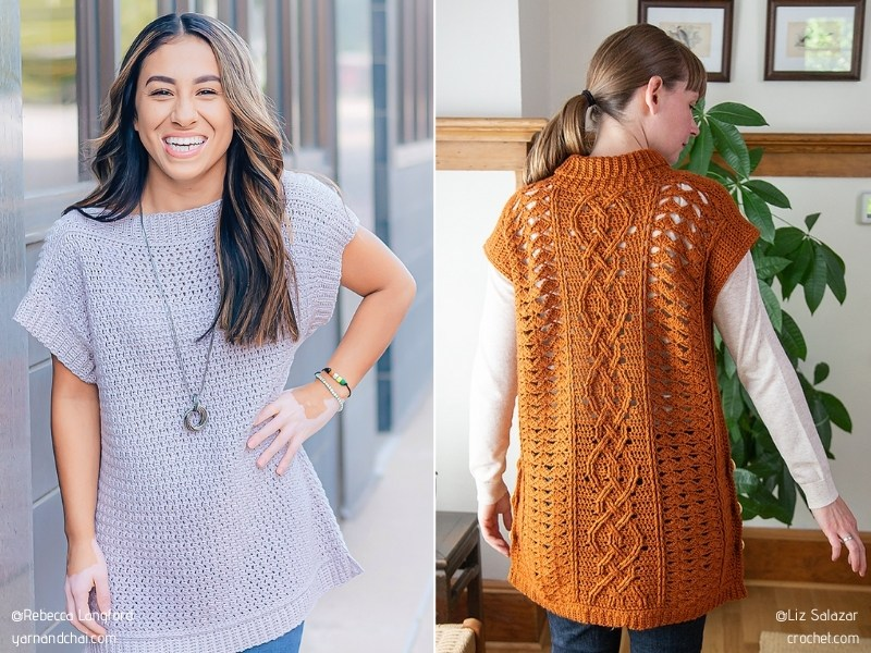 Modern Sleeveless Pullovers with Free Crochet Patterns