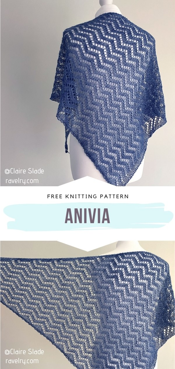 Blue Knitted Shawl