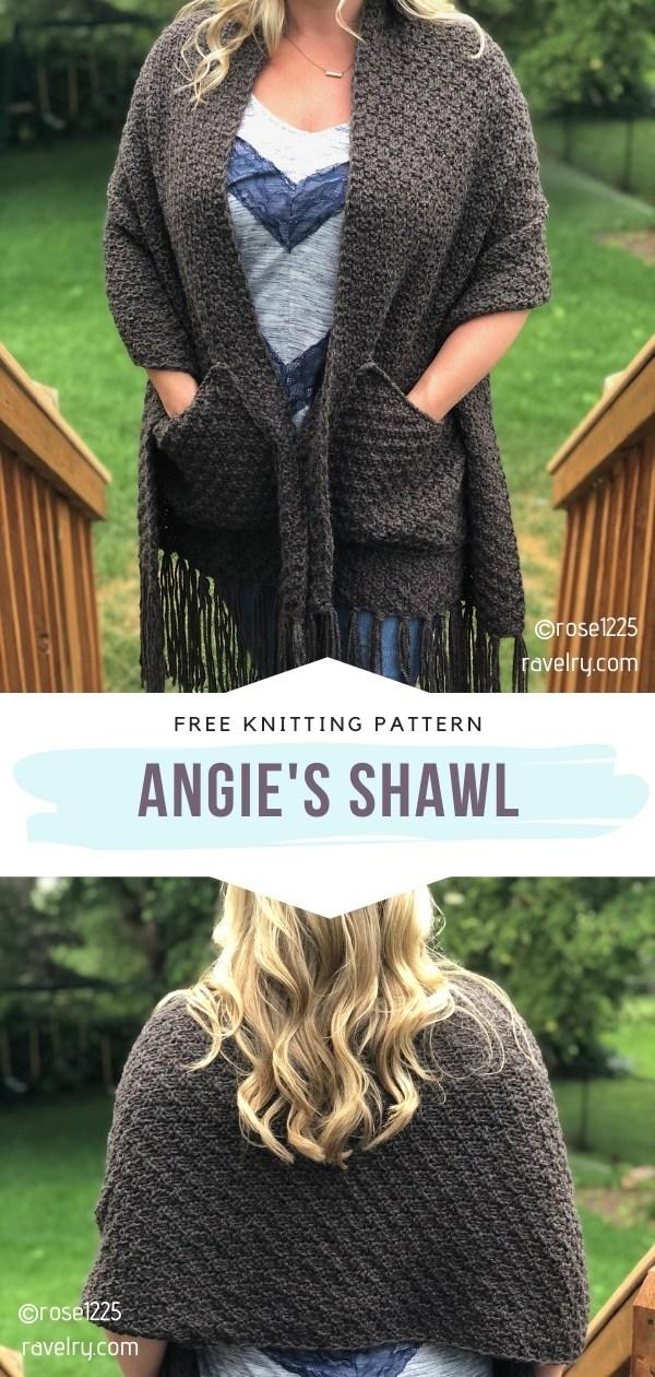 Knitted Pocket Shawl