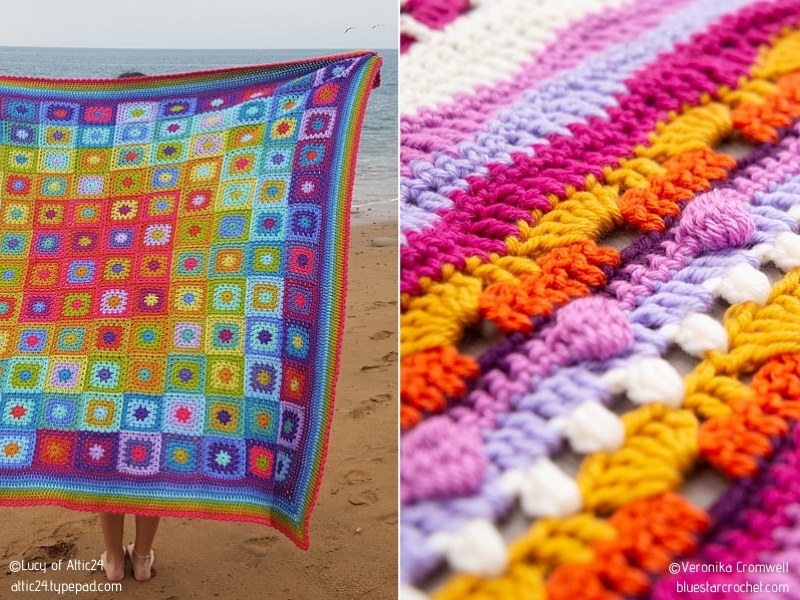 Multicolor Granny Square Blankets with Free Crochet Patterns