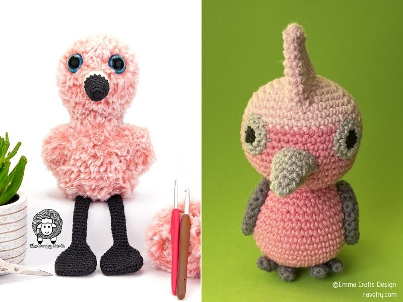 Pink Amigurumi Birds with Free Crochet Patterns