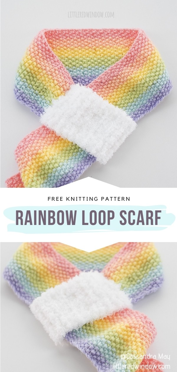 Knit Rainbow Scarf