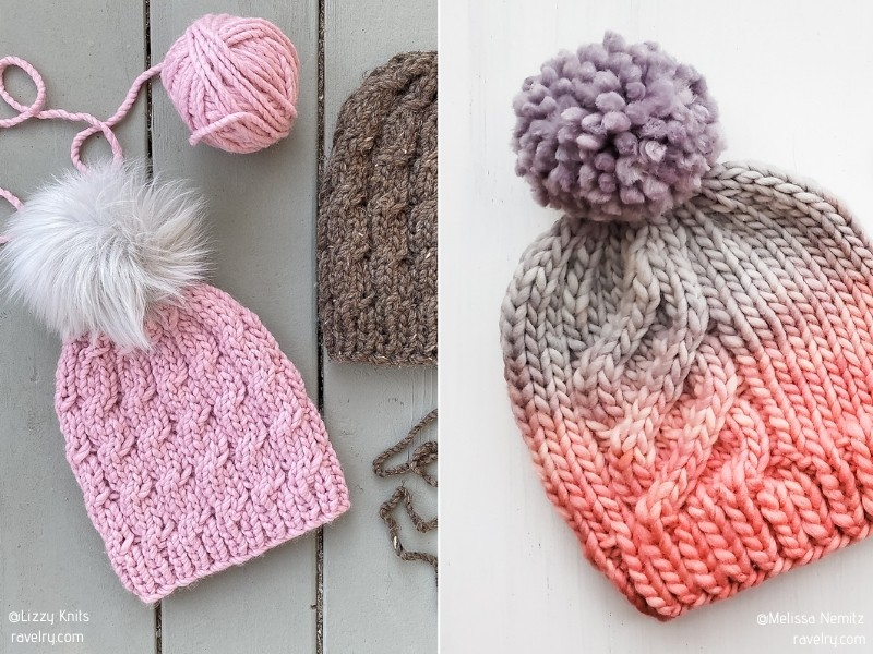 Charming Pink Beanies with Free Knitting Patterns
