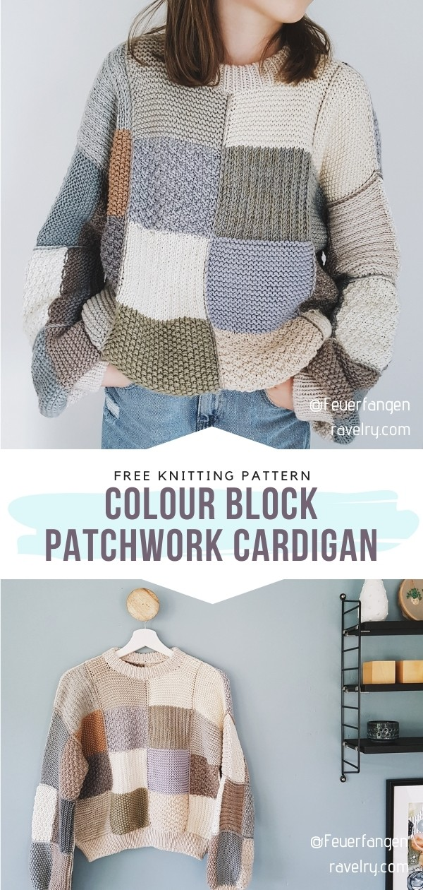 Knitted Colour Block Patchwork Cardigan