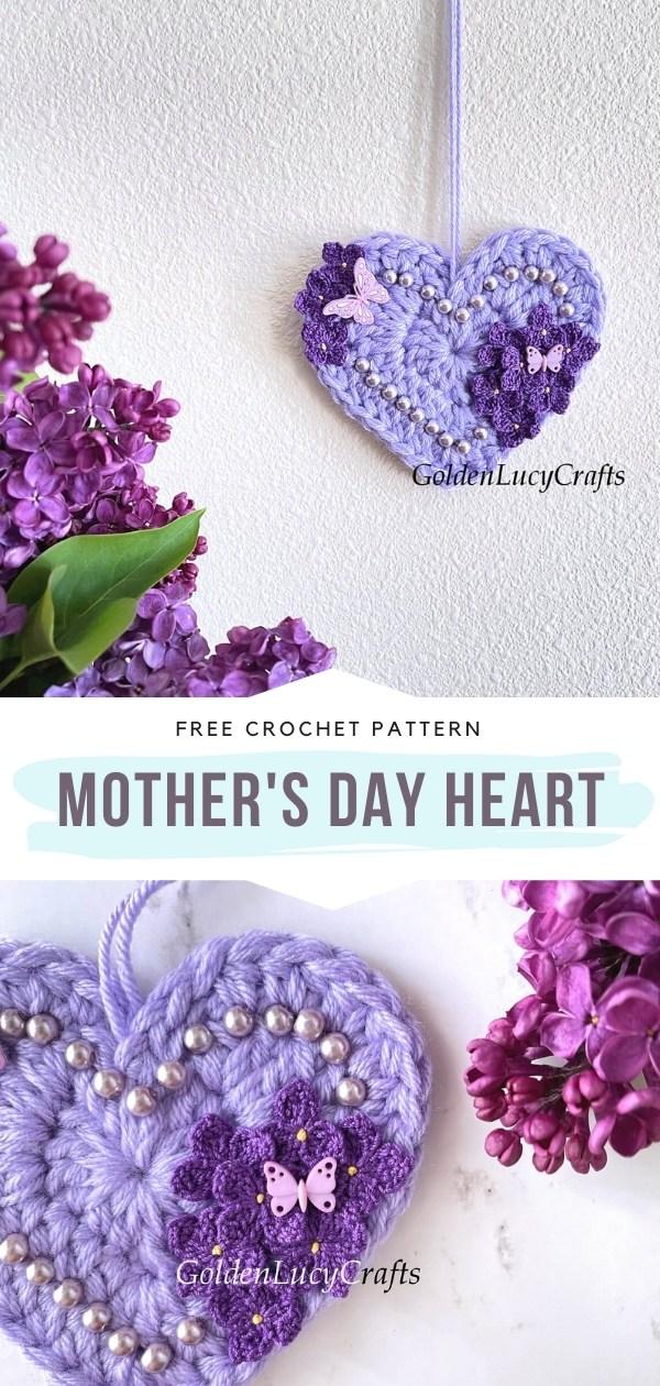 Corazón de ganchillo del día de la madre
